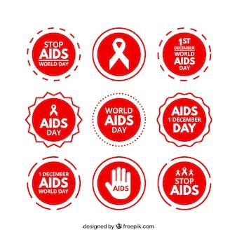 Collezione di adesivi giorno rosso mondiale contro l'aids