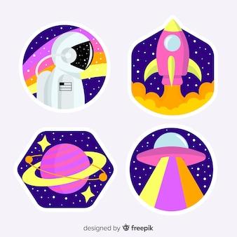 Collezione di adesivi girly illustrati nello spazio