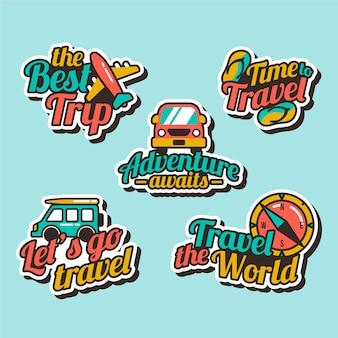 Collezione di adesivi in stile anni '70 per i viaggi