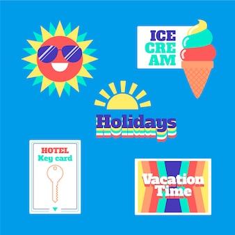 Collezione di adesivi in stile anni '70 per le vacanze