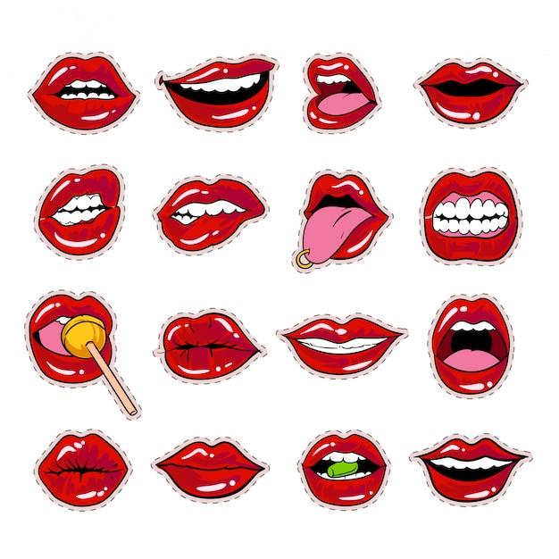 Collezione di adesivi labbra labbra bacio design