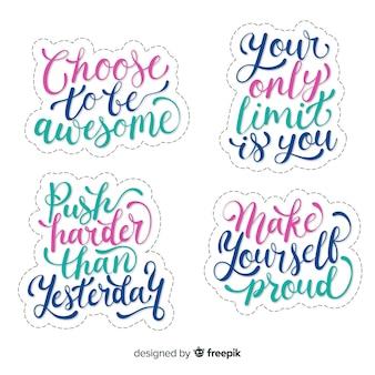 Collezione di adesivi lettering motivazionali