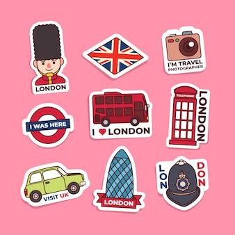 Collezione di adesivi londinesi