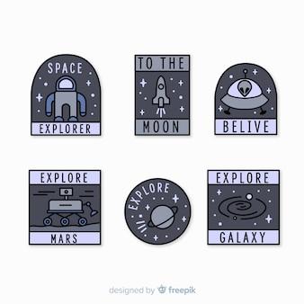 Collezione di adesivi moderni spazio grigio