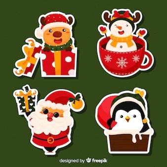 Collezione di adesivi natalizi
