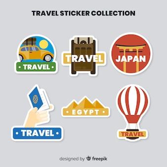 Collezione di adesivi piatti da viaggio