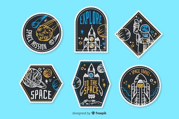 Collezione di adesivi spaziali disegnati a mano