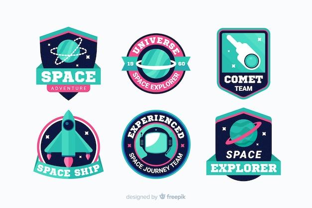 Collezione di adesivi spaziali moderni