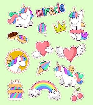 Collezione di adesivi unicorno carino
