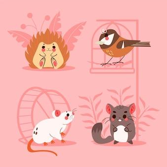 Collezione di adorabili animali domestici