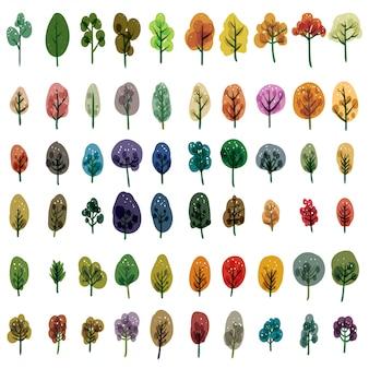 Collezione di alberi ad acquerello
