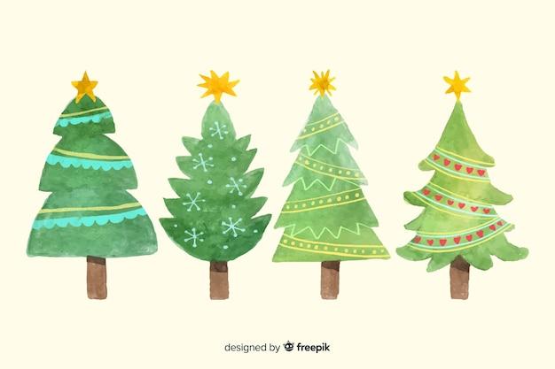 Collezione di alberi di natale dell'acquerello