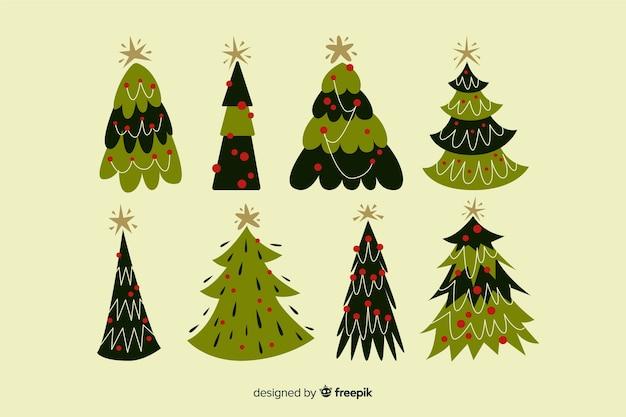 Collezione di alberi di natale disegnati a mano