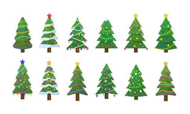 Collezione di alberi di natale in design piatto per biglietti di auguri, inviti, banner, web design. albero di simbolo tradizionale di natale e capodanno con ghirlande, lampadina, stella. vacanze invernali. .