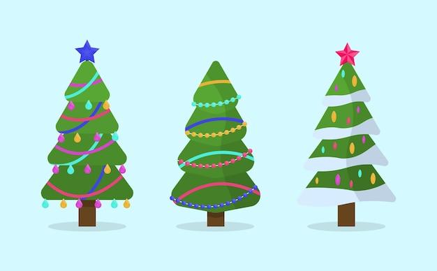 Collezione di alberi di natale in design piatto per biglietti di auguri, inviti, banner, web design. albero di simbolo tradizionale di natale e capodanno con ghirlande, lampadina, stella. vacanze invernali.