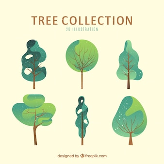 Collezione di alberi in stile 2d