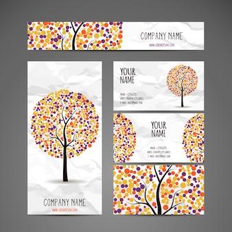 Collezione di alberi vettoriali con foglie rotonde multicolori