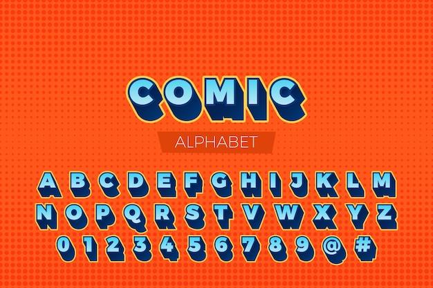 Collezione di alfabeto dalla a alla z in fumetto 3d