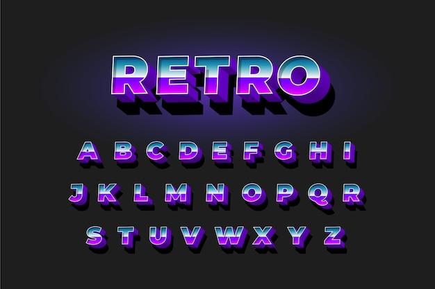 Collezione di alfabeto in stile retrò 3d