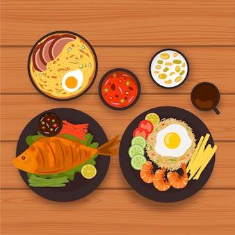 Collezione di alimenti comfort stile illustrato
