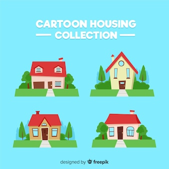 Collezione di alloggi colorati con stile cartoon