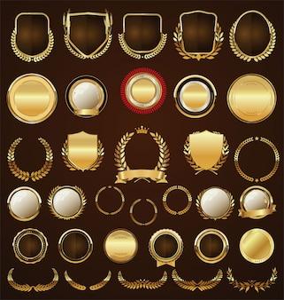 Collezione di alloro e nastri etichette distintivi dorati