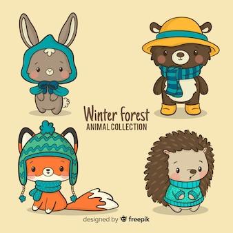 Collezione di amici della foresta invernale