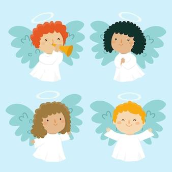 Collezione di angeli di natale in design piatto