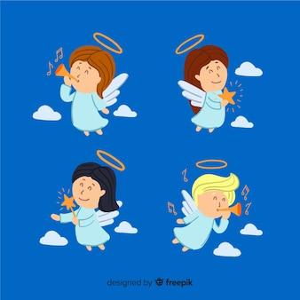 Collezione di angeli natalizi piatti