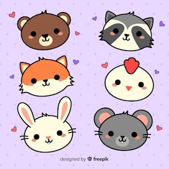 Collezione di animali adorabili disegnati a mano