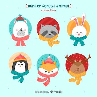 Collezione di animali amichevoli per l'inverno