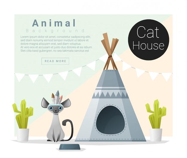 Collezione di animali carina casa del gatto