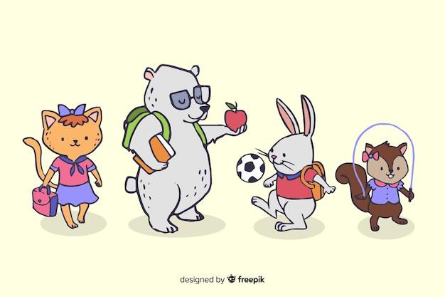 Collezione di animali con il concetto di ritorno a scuola