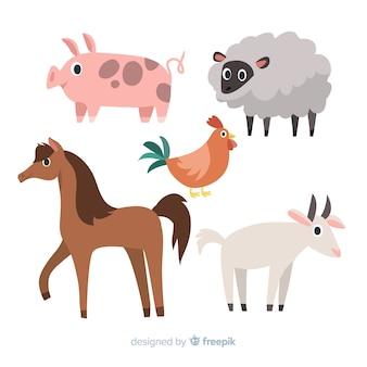 Collezione di animali da fattoria design piatto