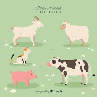 Collezione di animali da fattoria disegnata a mano