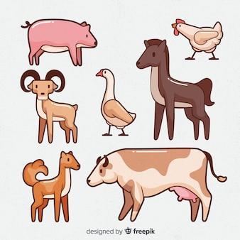 Collezione di animali da fattoria in mano stile disegnato