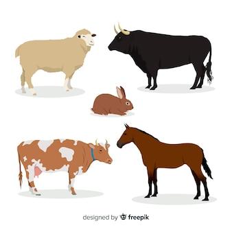 Collezione di animali da fattoria in stile piatto