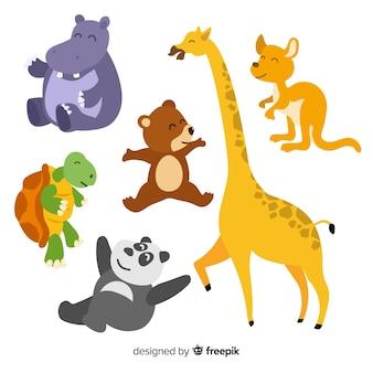 Collezione di animali dei cartoni animati disegnati a mano