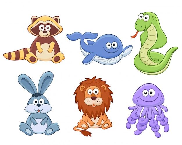 Collezione di animali dei cartoni animati