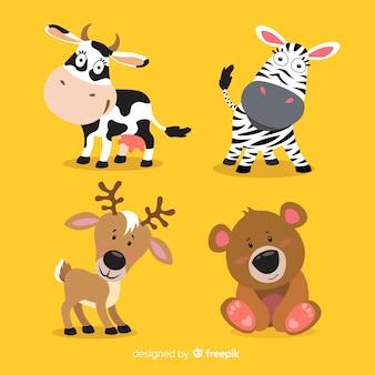 Collezione di animali del fumetto della fauna selvatica