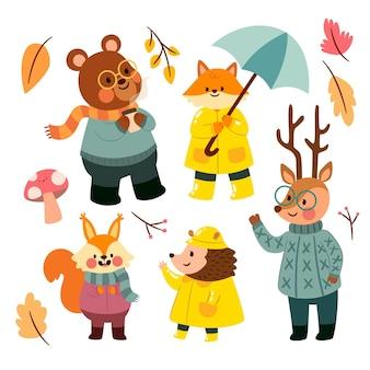 Collezione di animali della foresta autunno design piatto