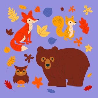 Collezione di animali della foresta d'autunno