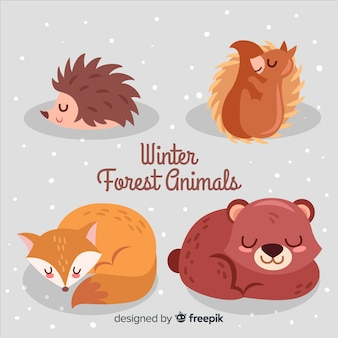 Collezione di animali della foresta invernale
