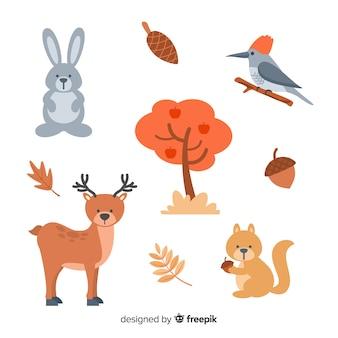 Collezione di animali della foresta piatta