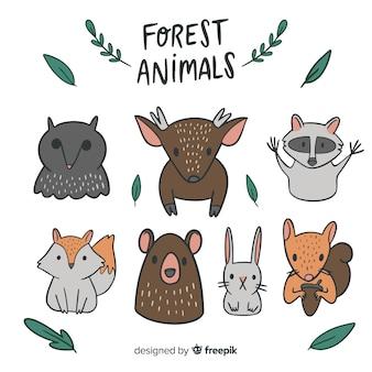 Collezione di animali della foresta