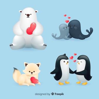Collezione di animali di san valentino