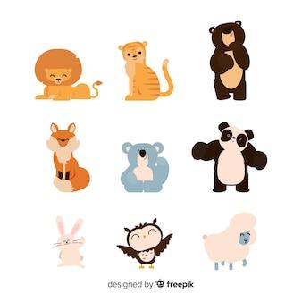 Collezione di animali disegnati a mano carina