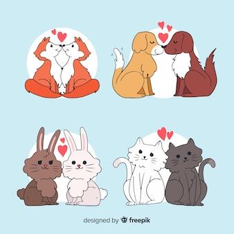 Collezione di animali innamorati