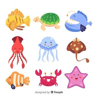 Collezione di animali marini colorati kawaii