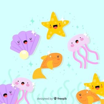 Collezione di animali marini kawaii disegnati a mano